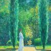 Charles Neal | Reflection - the Statue Garden, Violet, 8th Duchess of Rutland | oil on canvas | 60 x 36 in.