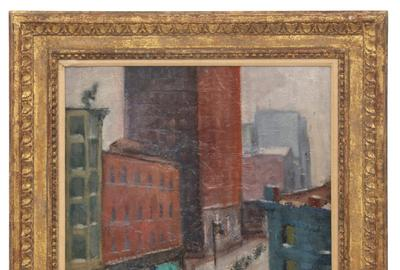 "Leading a fine grouping of paintings is a signed George Benjamin Luks ($6/9,000) oil on canvas, ""Lower Manhattan,"" 19½ by 15½ inches."