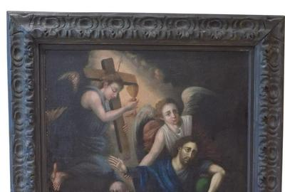 Early 18th century oil on canvas religious painting by an unknown Mexican artist, titled Jesus's Agony at the Gethsemane, executed in the Chiaroscurism style (est.  $4,000-$8,000).