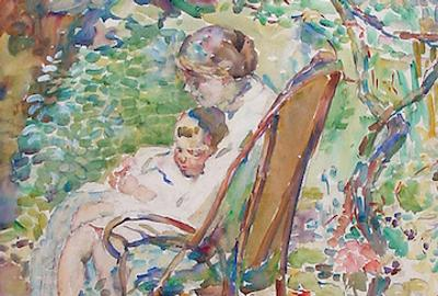 Mother and Child in a Garden, France, c.  1911-12.  Alice Schille (American, 1869 - 1955).  Watercolor on paper, 23 ½ x 19 ½ inches.  On Loan from Ann and Tom Hoaglin.