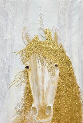 Diana Wunsch, Unicorn Magic Room, Acrylic & 24 Karat Gold on Canvas, 75'' x 43.5''