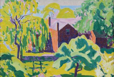 """Red House, Provincetown"" by E.  Ambrose Webster is the anticipated top lot at Eldred's Paintings Auction on January 28."