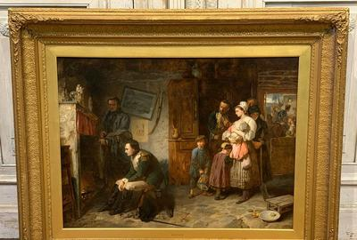 Museum-quality oil on canvas painting by the British Royal Academy artist Marcus Stone (1840-1921), cleaned and restored and in a 50 inch by 40 ¾ inch frame (est.  $45,000-$55,000).
