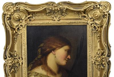 Oil on canvas portrait painting attributed to the Ludovico Carracci (Italian, 1555-1619), a female portrait to the neck with a twig in one hand, 17 ¼ inches by 14 ¾ inches (est.  $7,500-$12,500).