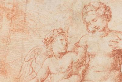 Detail, Raphael drawing of Venus with Cupid.