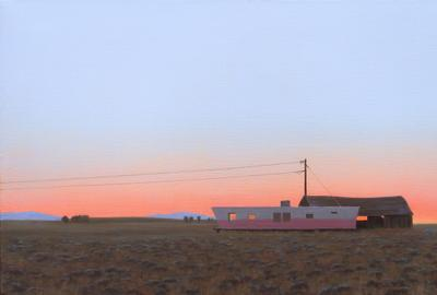 "Linda Lillegraven, ""Pink Trailer and Barn"", Oil on linen, 2021"