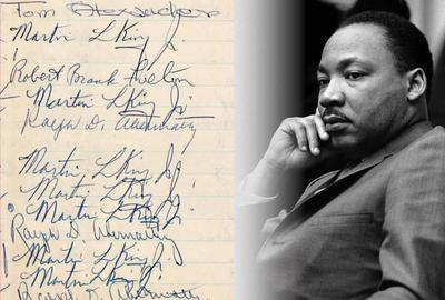 "Excerpts from four logbook pages [two front and two back sides] bearing 12 signatures of the Rev.  Dr.  Martin Luther King Jr., and five signatures of his associate and mentor Ralph Abernathy, signed during their 1963 incarceration at the Birmingham (Ala.) Jail.  During that incarceration King produced his manifesto on non-violent civil disobedience known as ""Letter From A Birmingham Jail."" Provenance: salvaged by a Birmingham jail employee.  Hake's COA, JSA LOA.  Opening bid: $10,000"