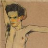Egon Schiele, Self-Portrait, 1910 (detail).  Watercolor and charcoal on Packpapier