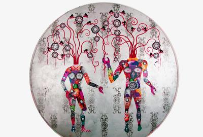 Edouard Duval-Carrié (b.  1954).  Soucouyant #4, 2017.  Mixed media on aluminum.  Diameter: 96 in.  Courtesy of the artist.