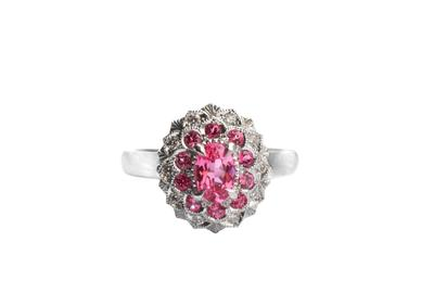 Camellia Ring by Cecile Raley Designs.  Mahenge and Burmese spinels, and diamonds, set in 14K white gold.