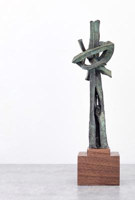 "Seymour Lipton (1903-1986), The Ken Shine Prize in Health Leadership, after ""Pioneer"", 1957/2018, bronze with wood base, 11 1/4"" x 2 3/4"" x 2 3/4"" / 28.6 x 7.0 x 7.0 cm"