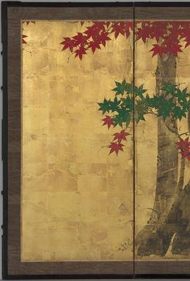 Tawaraya Sōri, Autumn Maple Trees, Japanese, Edo period, second half 18th century.  Six-panel folding screen; ink, color, and gold on paper.  Harvard Art Museums/Arthur M.  Sackler Museum, Promised gift of Robert S.  and Betsy G.  Feinberg, TL42147.39.