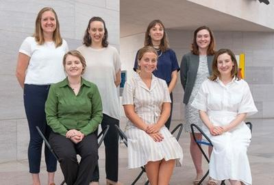 2019–2020 National Gallery of Art Interns.  Front row, left to right: Katie Brooks Toepp, Weezie Haley, and Ashley Hannebrink; Back row, left to right: Claralyn Burt, Michaela Milgrom, Isabella Beroutsos, and Tamsin McDonagh