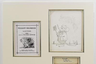 "Highly detailed original graphite drawing by Maurice Sendak of ""Pleasant Fieldmouse"", a near final drawing of the frontis for Jan Wahl's book of the same name (est.  2,000-$2,400)."