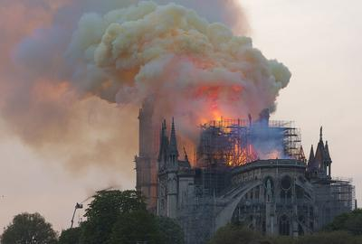 Notre-Dame aflame in April 2019.