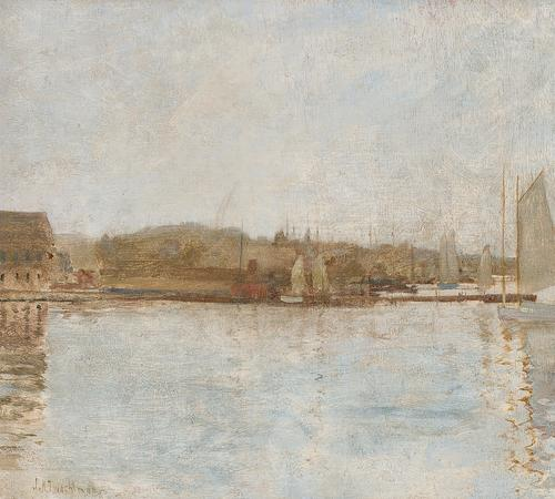 JOHN HENRY TWACHTMAN, American (1853-1902), Harbor Scene, Newport, oil on board
