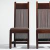 FRANK LLOYD WRIGHT (1867-1959) Two Important Chairs from the Ward W.  Willits House, Highland Park, Illinois, circa 1902 executed by John W.  Ayers, Co.  stained white oak, fabric upholstery.