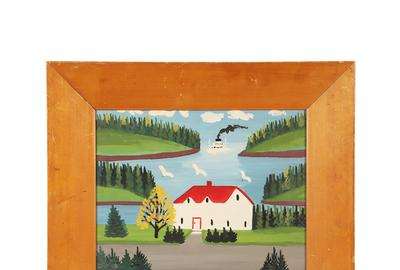 Circa 1960 painting on green board by Maud Lewis (Canadian, 1903-1970) of a local cove with the red-roofed Lynch House and ferry Princess Helene entering the harbor (CA$25,960).