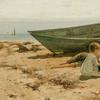Oil on canvas by Charles Morgan McIlhenney (American, 1858-1904), titled Summer Afternoon by the Shore, signed, 14 inches by 26 ¾ inches, est.  $15,000 - $25,000, sold for $100,000.