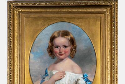 Charming oil on canvas portrait of a young girl in a white dress by the American artist Henry Inman (1801-1846), unsigned, framed dimensions 32 ¼ inches by 28 ¼ inches (est.  $2,000-$4,000).
