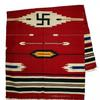 This late 19th century red weave Navajo blanket with swastika design, 39 inches by 64 inches, carries a minimum bid of $500.