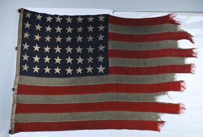 Omaha Beach D-Day American Flag flown on the mast of LCI (Landing Craft Infantry) (L)-413, which brought ashore the valiant 115th Infantry Regiment on June 6, 1944.  Extensive provenance.  Estimate $50,000-$60,000