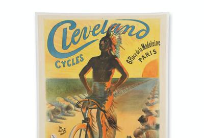 1898 French advertising poster for Cleveland Cycles (Toledo, Ohio), with artwork by Jean Pal de Paleologue, made just prior to the crash of the worldwide bicycle boom (CA$3,835).