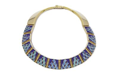 The Chiaroscuro Necklace by Valerie Jo Coulson.  18K Gold, Opal, Lapis Lazuli, Turquoise, Sugilite