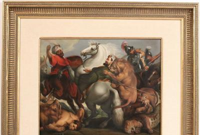 "KPM porcelain plaque titled The Lion Hunt, 19th century, painted by A.L.  Eckart (Dresden), after the Peter Paul Rubens painting Caccia al Leone (""The Lion Hunt""), marked ""KPM"" verso, 11 ½ inches by 14 ½ inches (sight)."