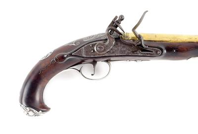 Extremely rare .60-caliber smoothbore silver-mounted officer's pistol made at Rappahannock Forge, Va., for private purchase.  Signed 'J.  Hunter,' bears touchmark of rifle-maker John Frederick Klette (1756-1810), Estimate $250,000-$500,000