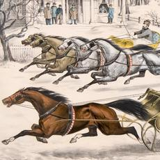 Thomas Worth (American, 1834–1917), A Brush for the Lead.  New York Flyers on the Snow (detail), 1867, lithograph, Gift of Conagra Brands, 2016.20.488.  On view in Revisiting America: The Prints of Currier & Ives, November 21, 2020–April 11, 2021.