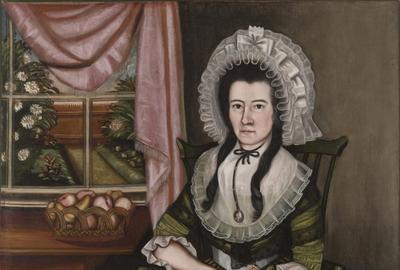 The Beardsley Limner (active c.  1785–c.  1800), Elizabeth Davis Beardsley, c.  1789.  Oil on canvas, 45 5⁄16 × 43 3⁄16 inches, Yale University Art Gallery, Gift of Gwendolen Jones Giddings, 1952.46.2