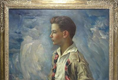Arthur Meltzer (Pennsylvania, 1893-1983), portrait of 'Davis [Meltzer] at 14 Years of Age,' 1943, oil-on-canvas, SLR, 35 x 32in (sight).  Provenance: Estate of Davis Meltzer.  Estimate: $1,500-$3,000
