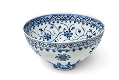 Rare blue-and-white bowl from China's Ming dynasty to be auctioned at Sotheby's New York.