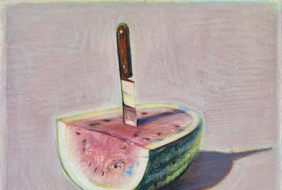 Wayne Thiebaud, Watermelon and Knife, 1989.  Pastel on paper, 8 5/8 x 9 1/2 in.  Crocker Art Museum, gift of the Artist's family, 1995.9.30.  © 2019 Wayne Thiebaud / Licensed by VAGA at Artists Rights Society (ARS), NY.