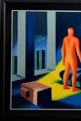 Screenprint in colors on wove paper by Mark Kostabi (American, b.  1960), titled Illuminated by Twilight (1991), signed, dated and numbered 43/50, framed 39 ¼ inches by 59 inches (est.  $1,000-$1,500).