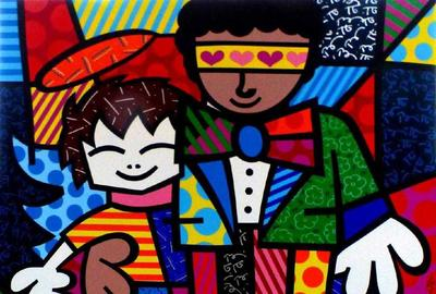 Original acrylic on canvas self-portrait by Romero Britto (Brazilian, b.  1963), titled Brandon & I and depicting the artist and his son, Brandon (est.  $20,000-$25,000).