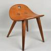 "Edward Wormley for Dunbar, rare cherrywood ""heart"" stool."