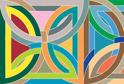 Frank Stella, Takht-i-Sulayman Variation I (from the Protractor Series), 1969.  Acrylic and fluorescent acrylic on canvas, 120 x 240 inches.  Gift of Rose M.  Shuey, from the Collection of Dr.  John and Rose M.  Shuey CAM 2002.42.  © 2020 Frank Stella / Artists Rights Society (ARS), New York, New York.  Photography by R.  H.  Hensleigh.