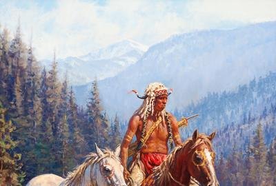 Lot 180, Martin Grelle, A Warrior's Pride, oil on canvas Estimate: $20,000.00 - $40,000.00