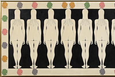 John Wesley, 7 Maidens, duco and oil on canvas, 1963.  Estimate $80,000 to $120,000.