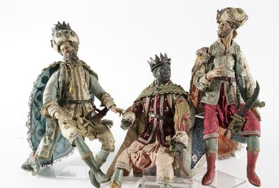 19th century Three Magi Italian Neopolitan Wood and Terra Cotta figures