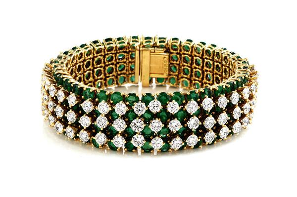 815c84fde Vintage Emerald and Diamond Band Bracelet. Represented by Windsor Jewelers.
