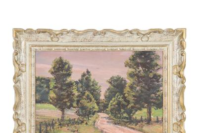 There are four oil on board paintings in the auction by the noted Canadian artist Homer Ransford Watson (1855-1936) including this one titled Spring on a Country Road (est.  CA$2,500-$3,000).