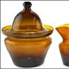 Freeblown sugar bowl with matching creamer in amber, Zanesville Glass Works, circa 1820-1835 (est.  $35,000-$45,000).