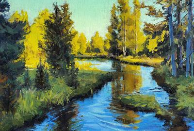 "Kate Starling, ""Evening Slough"" Oil on Linen, 16 x 30 in"