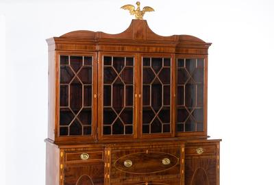 Federal Inlaid Mahogany Breakfront Secretary, Salem, Massachusetts, in the manner of Edmund Johnson (Estimate: $15,000-25,000)