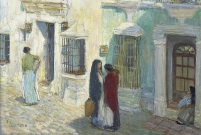 Childe Hassam, Plaza de la Merced, Ronda, 1910.  Oil on panel.  25 1/2 x 20 1/2 in.  (64.6 x 52 cm) Carmen Thyssen-Bornemisza Collection on loan at the Museo Nacional Thyssen-Bornemisza, Madrid