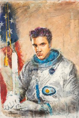 Oil on canvas by Igor Gusev (Ukrainian, b.  1970), titled Elvis Returns, unframed, 76 ¾ inches by 57 inches, artist signed in Ukrainian lower right (est.  $6,000-$8,000).
