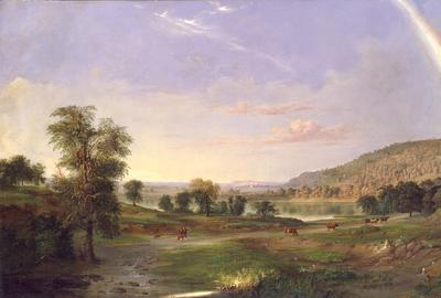 Robert S.  Duncanson, born Seneca County, NY 1821/22-died Detroit, MI 1872.  Landscape with Rainbow.  1859.  Oil on canvas, 30 x 52 1/4 in.  Smithsonian American Art Museum, Gift of Leonard and Paula Granoff